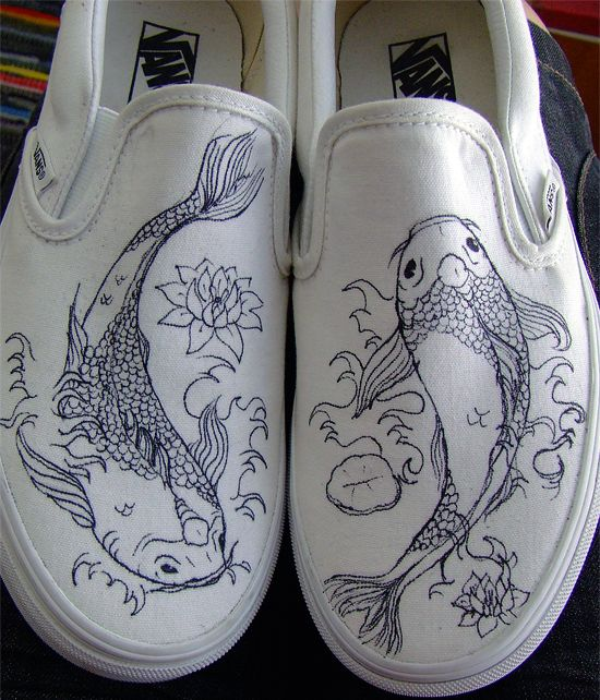 Koi printed white canvas shoes - drawings of koi fish | Koi Blog: Speed Draw a Koi Fish