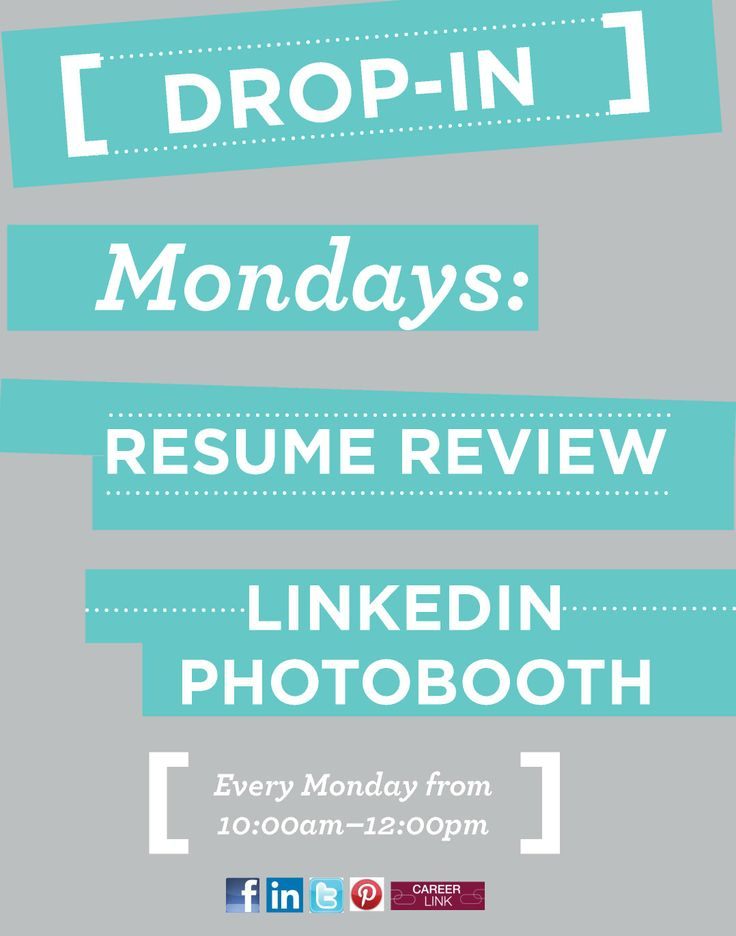 Come to our drop in Mondays for resume review! Make your