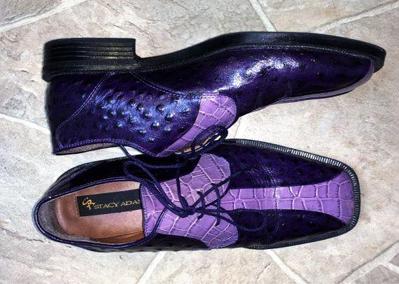 80 avestruz púrpura hombres cuero zapatos Stacy Adams tamaño