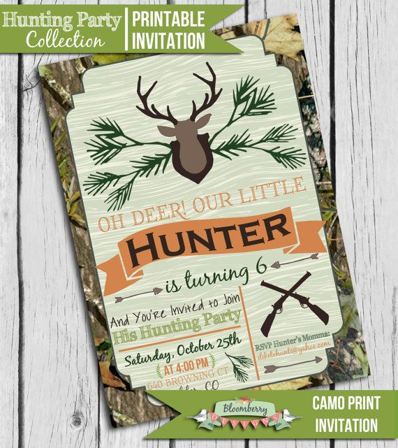 Hunting Themed Party! Hunting Party Invitation Hunting Theme Party by BloomberryDesigns, $15.00