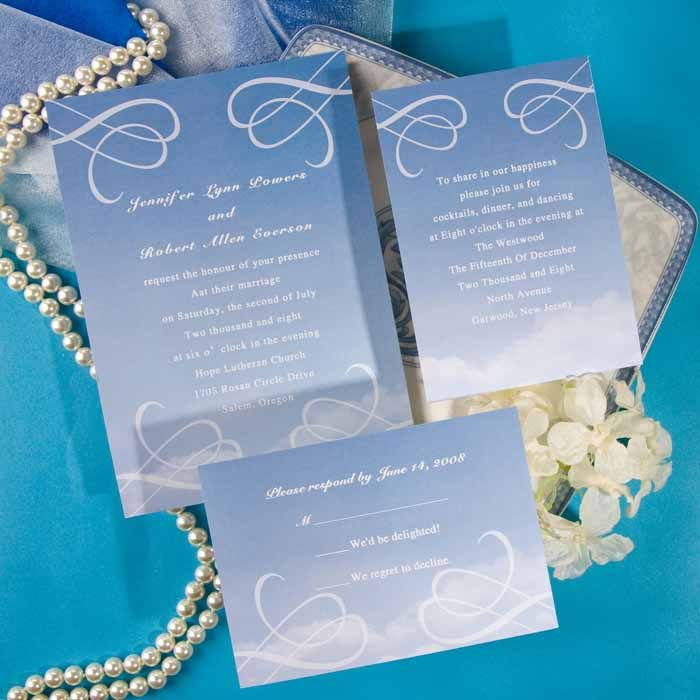 simple and elegant blue sky online wedding invitations EWI129 as low as $0.94