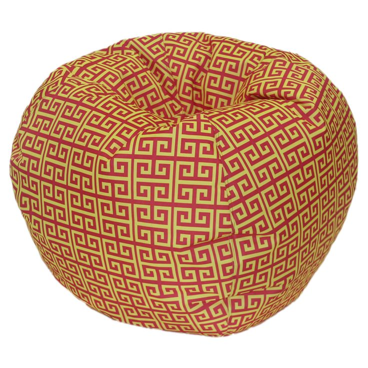 Egyptian Mod Red and Yellow Bean Bag Chair (27 inch), Size Medium (Polyester Blend)
