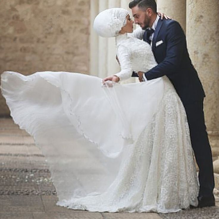 Vestidos De Novia A-Line White Chiffon Bridal Gowns Long Sleeve Muslim Wedding Dress With Hijab Embroidery Arabic Wedding Dress <3 Offer can be found by clicking the VISIT button