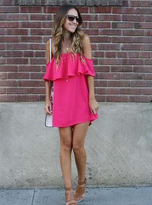 pink boat neck dress, loose ruffle dress, cute bright pink dress - Crystalline