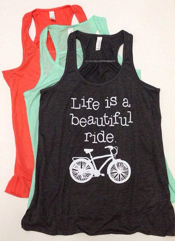 Life Is A Beautiful Ride long, flowy lightweight tank. Great for bike rides. Bike week, mountain bike, beach cruiser, bicycle, triathlon. on Etsy, $21.00