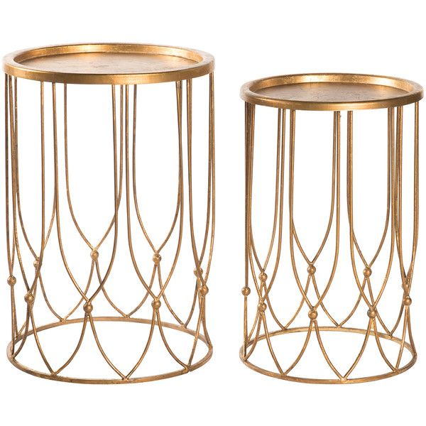 Wishbone Hollywood Regency Gold Accent Round Side Table- Set of 2 ($570) ❤ liked on Polyvore