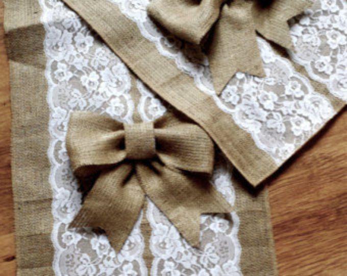Camino de mesa de boda, encaje y arpillera corredor con arcos, arcos de la arpillera por encargo