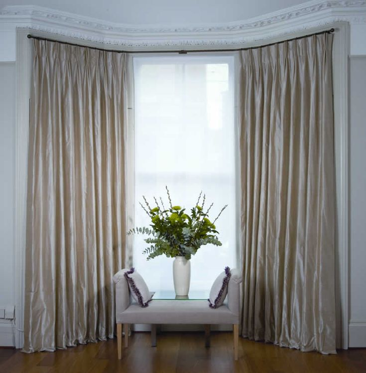 Curtains for Bay Windows: Consider the hanging system (pole, track, Metropole) and the heading style.
