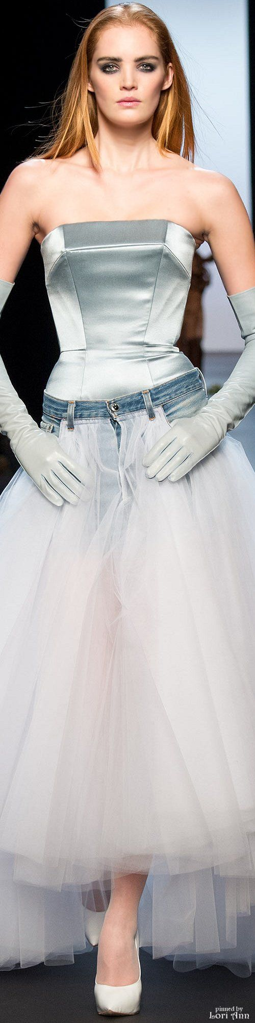 Jean Paul Gaultier S-15: jeans + tulle skirt, satin bodice, long gloves.