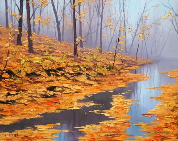 Like the moodiness of this piece - Fallen Leaves by Sydney Australia based artist Graham Gercken. Predominantly self taught, Graham chose oil paints as his medium and painted wet into wet, which is the style of the impressionists...