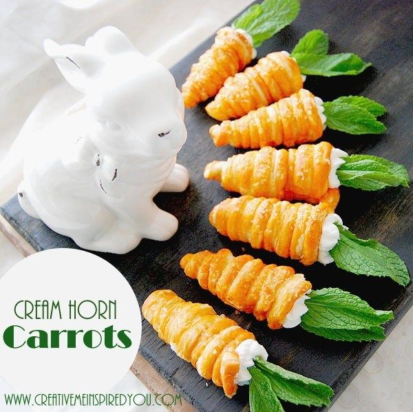 Carrot Cream horns, Easter, dessert, holidays, cute, cream, horns, diy, handmade, homemade