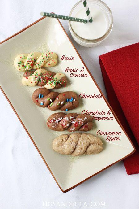 Classic Koulourakia (Greek Butter Cookies) made festive for Christmas! Recipe on figsandfeta.com