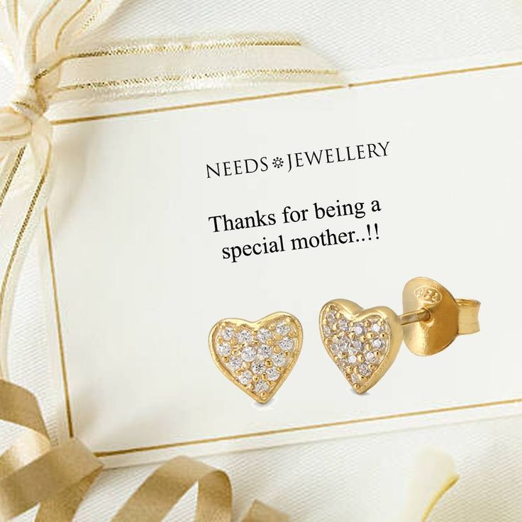 Hearts to her you care. Also available in silver and dark silver and necklace that match. Buy online now and get delivered by Thursday. #MothersDay #mom #gift #gifts #deal #silver #gold #Sterling #handmade #jewelry