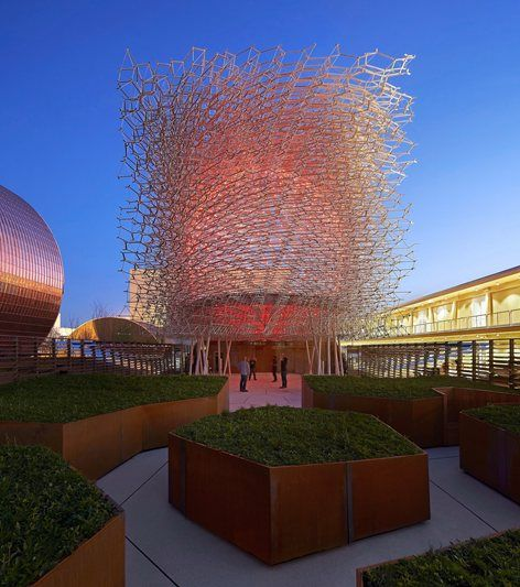 """The 2015 Milan Expo brought together 145 participating nations under the theme """"Feeding the Planet: Energy for Life"""" from May – October 2015. The UK Pavilion highlights the plight of the honeybee and was designed by artist Wolfgang..."""