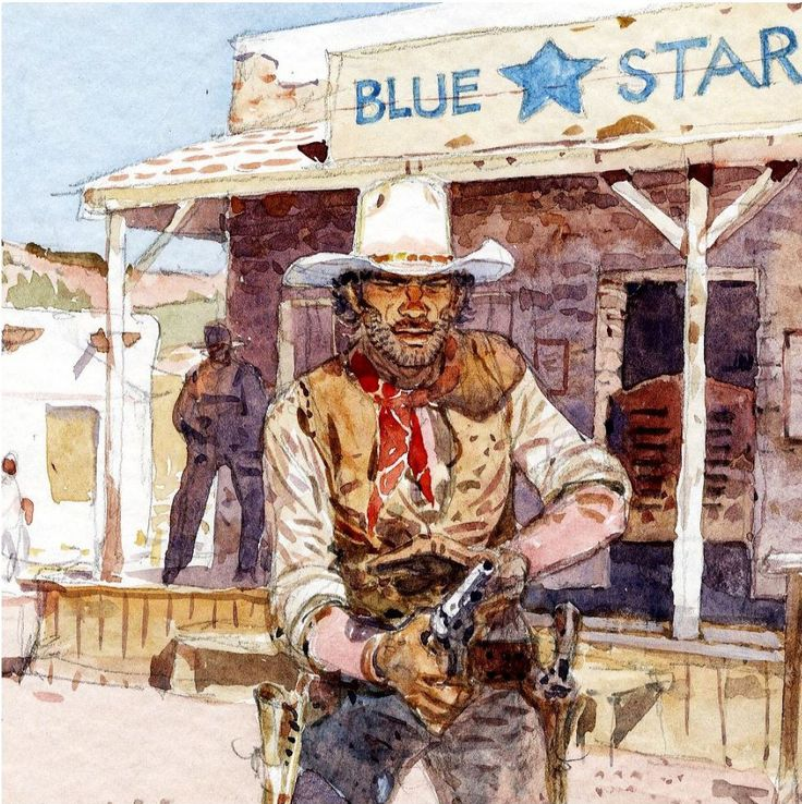 Moebius - Jean Giraud - Blueberry - illustration in color - French BV (1995) - W.B.