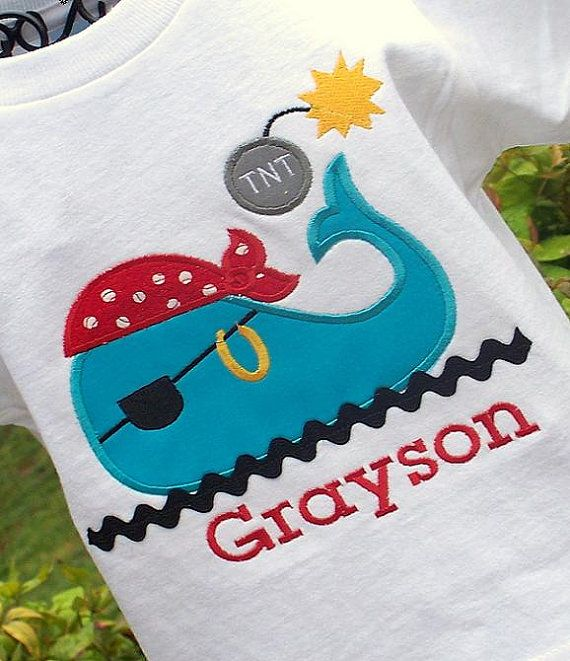 Personalized Boys Appliqued Pirate Themed Whale by lilshabebe, $17.95