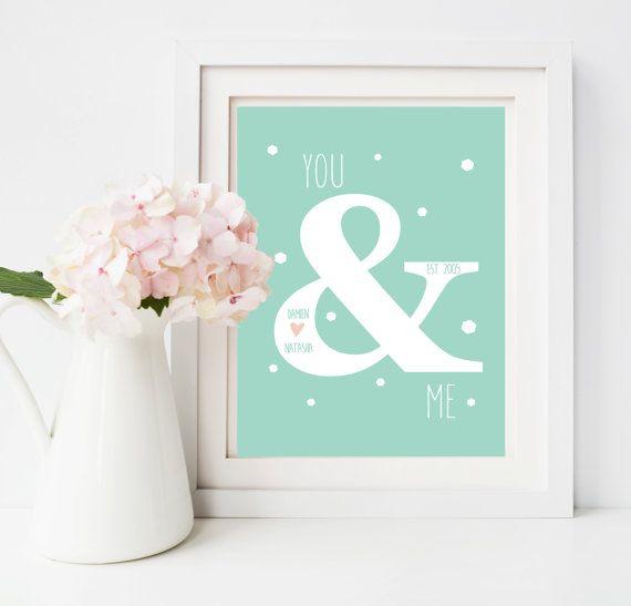 You & Me Personalised Print  Valentines  / Wedding by lovepaperink