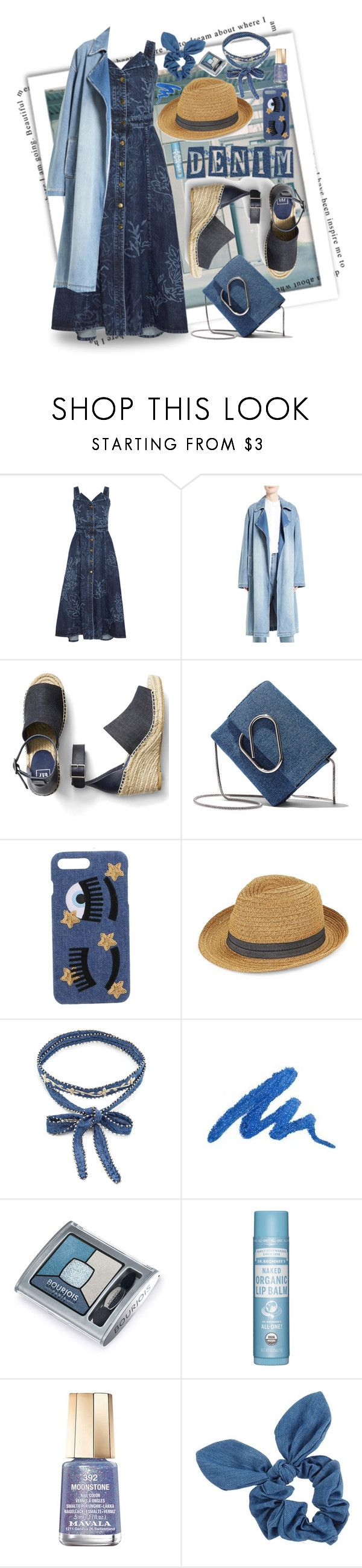 """""""BLUE DENIM"""" by papee ❤ liked on Polyvore featuring Peter Pilotto, Robert Rodriguez, Gap, 3.1 Phillip Lim, Chiara Ferragni, August Hat, Chan Luu, Urban Decay, Bourjois and Mavala"""