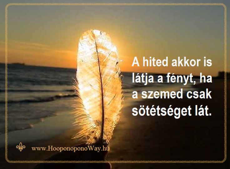 Hálát adok a mai napért. A hited akkor is látja a fényt, ha a szemed csak sötétséget lát. Ez a fény vezérel mindig, amikor te engeded. Ez a fény segít ki minden helyzetben, amikor te engeded. A döntés a tiéd. Az életed te teremted. Így szeretlek, Élet!    Köszönöm. Szeretlek ❤️  ⚜  Ho'oponoponoWay Magyarország ⚜  www.HooponponoWay.hu