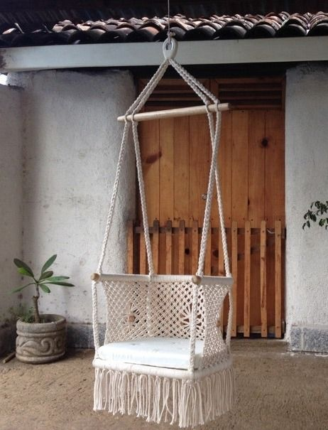 Handmade woven macrame chair: cotton cream rope with wooden bottom and removable cushion, great boost of boho chic style for your space.