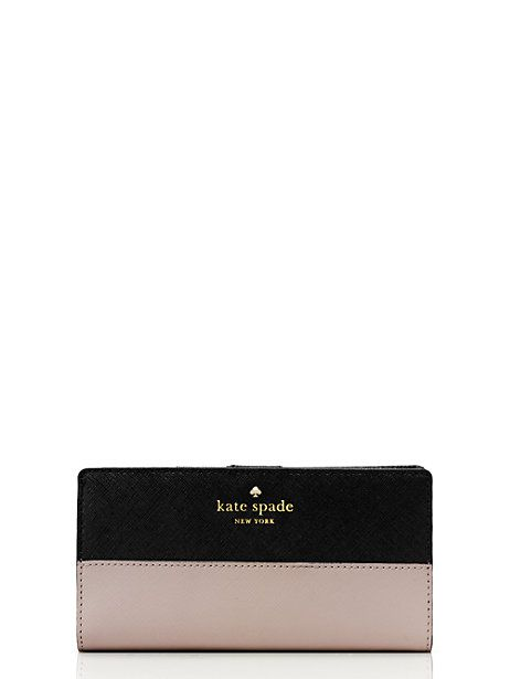 Kate Spade cedar street stacy wallet in pebble/black | $100