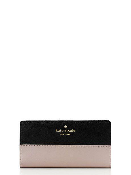 Kate Spade cedar street stacy wallet in pebble/black   $100