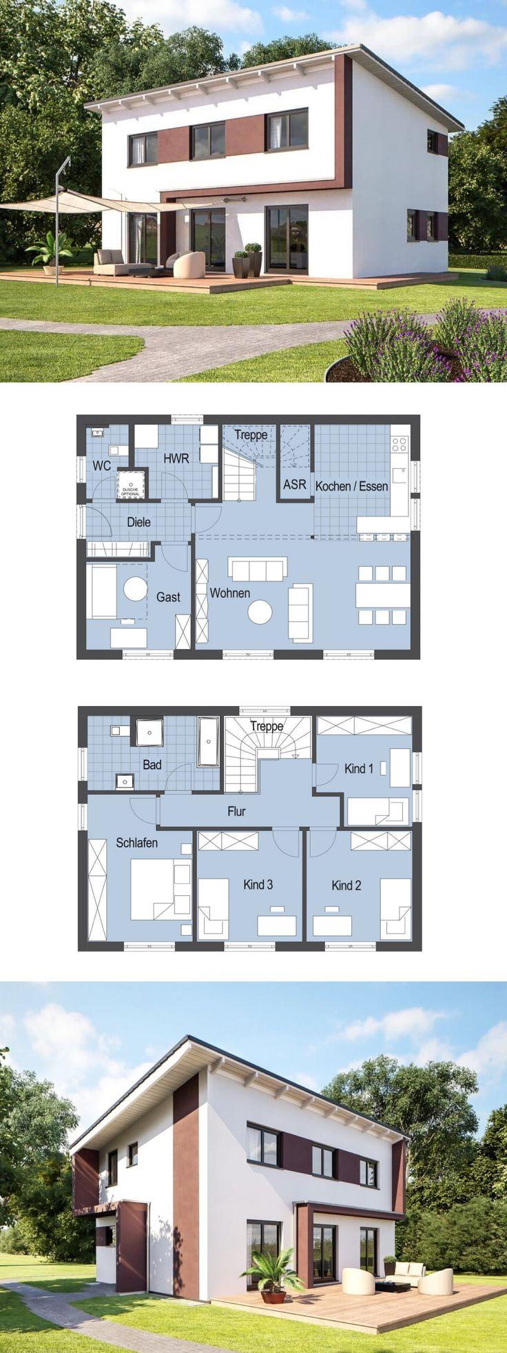 Modernes Haus mit Pultdach Architektur und Terrasse - Fertighaus Grundriss Stadtvilla Top Star S 145 Hanlo Haus - HausbauDirekt.de