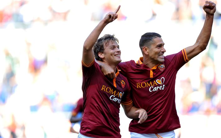 Download wallpapers Adem Ljajic, Marco Borriello, Roma, Serie A, Italia, football, Serbian football player, Italian football player, Rome