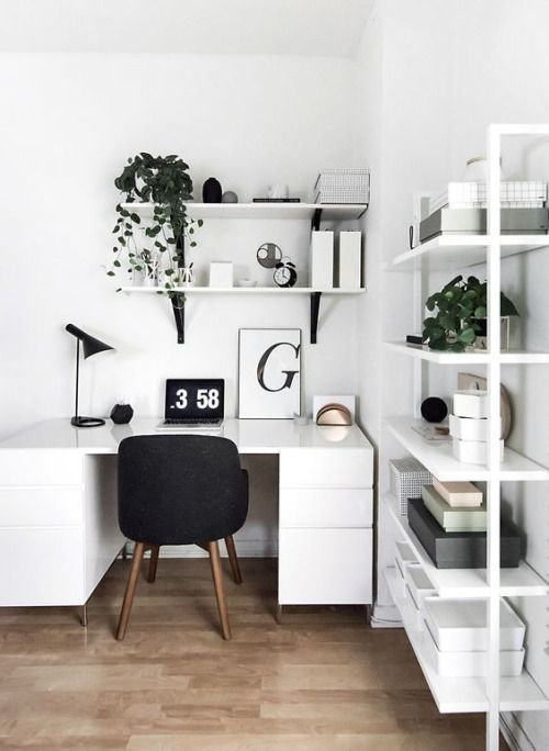 Desk and storage in white, desk chair in black// home office // work space
