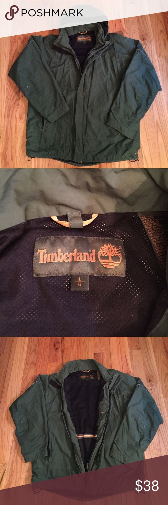 Timberland Coat This Timberland Coat is great to wear in all weather conditions while staying comfortable as well. Not heavy, but has several layers built in that helps you stay dry but able to keep movement! Detachable hood, several outside pocket as well as an inside pocket. Coat is Hunter Green and in great condition! Timberland Jackets & Coats