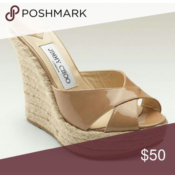 """Jimmy Choo Phyllis Wedges BEST PRICE! SORRY BUT ALL OFFERS WILL BE DECLINED!   SHIPS SAME DAY IF PURCHASED BEFORE NOON PST! OTHERWISE SHIPS NEXT DAY.   Patent leather nude espadrille wedges. Approx. 5.5"""" heel with 1"""" platform.   Well loved. Lots of life left in them.   Size 39 best for US 8/8.5  Happy to trade.   BEST PRICE! SORRY BUT ALL OFFERS WILL BE DECLINED! Jimmy Choo Shoes"""