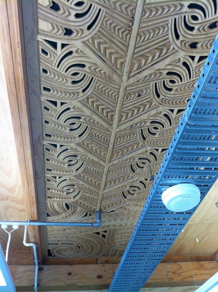 Coca building CNC carved plywood acoustic ceiling CarveX Jacob Scott 2013