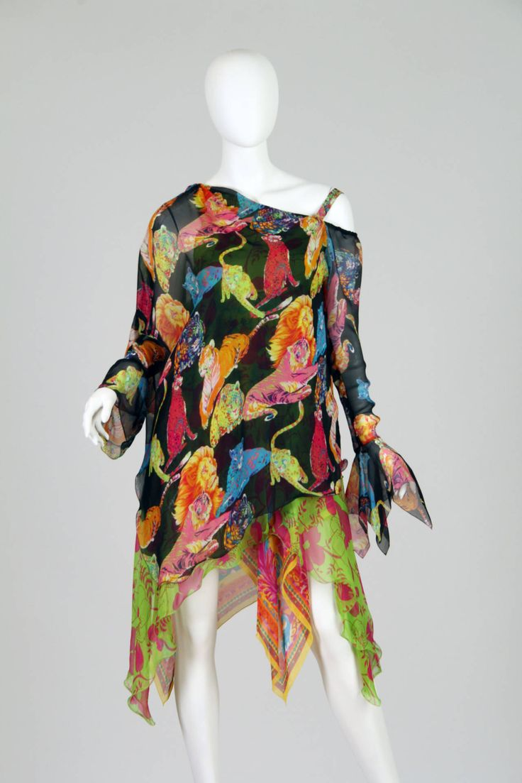 Spring 2007 EMANUEL UNGARO Runway Silk Chiffon Dress | From a collection of rare vintage day dresses at https://www.1stdibs.com/fashion/clothing/day-dresses/