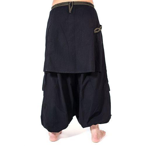 Afghani stijl wikkel harembroek zwart - Hippie