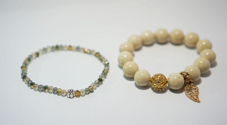 [betulikeit]Handmade Ivory stone Bracelet and small beaded bracelet set (2pcs)  #Handmade #Beaded
