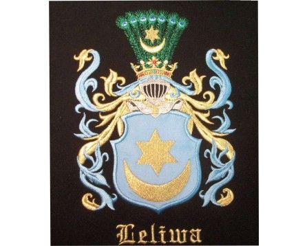 Herb rodowy/herb szlachecki LELIWA - coat of arms - AHA STUDIO Pracownia Haftu Artystycznego   HAFT ARTYSTYCZNY -HERBY, SZTANDARY, PROPORCZYKI  cena 250 zł.   ZAMÓW