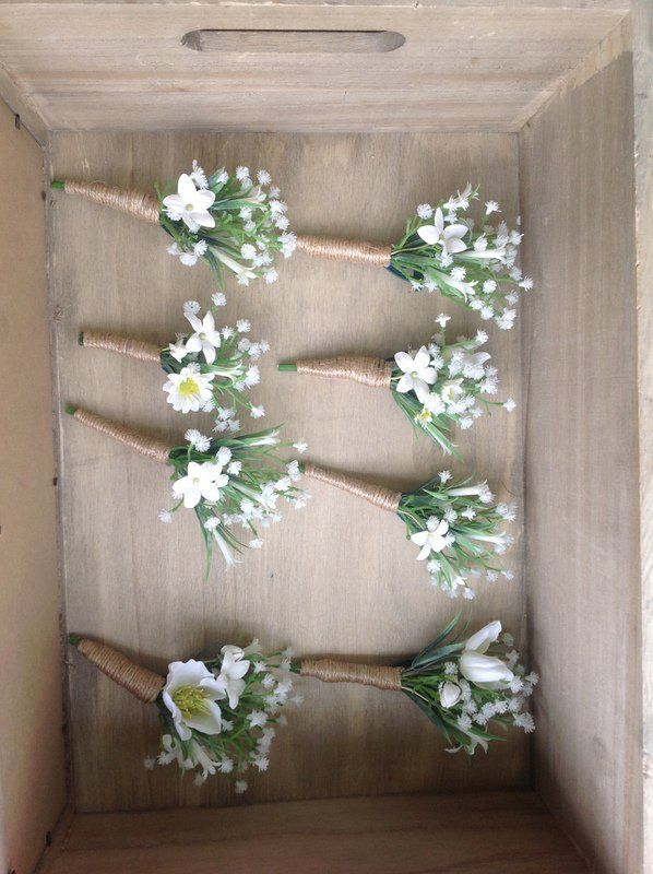 Babies breath and daisy buttonholes artificial flowers twine silk faux flowers rustic wedding beach wedding