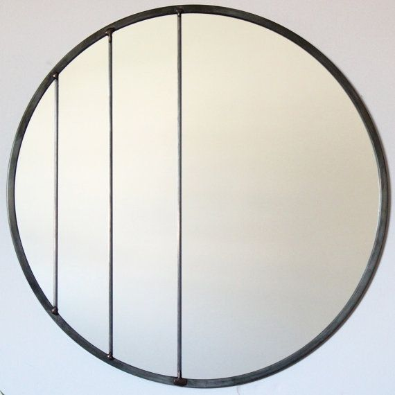 Large Circle Mirror Handmade Leaded Wall Mirror Round by fluxglass