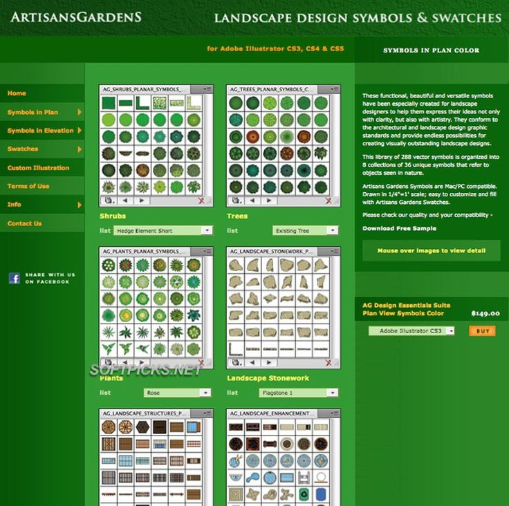 Potager Garden Design Tools Free | Artisans Gardens Landscape Design  Symbols In Plan View Color Free Part 79
