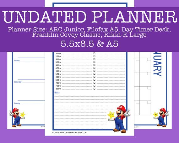 Undated Cartoon Planner Bundle  Mario Star  Daily by OnTaskOnTime