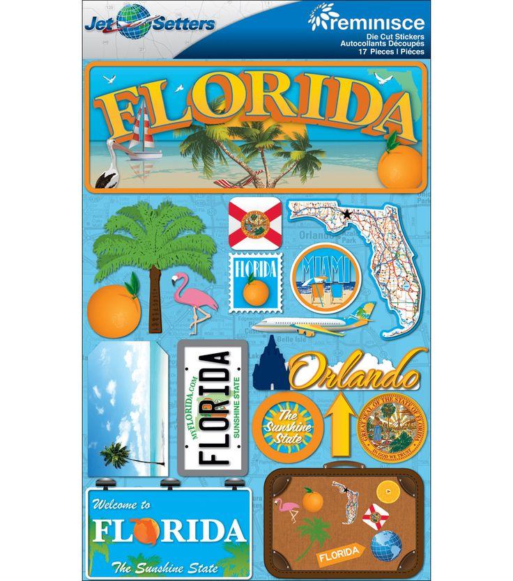 Jet Setters Dimensional Stickers Florida JOANN