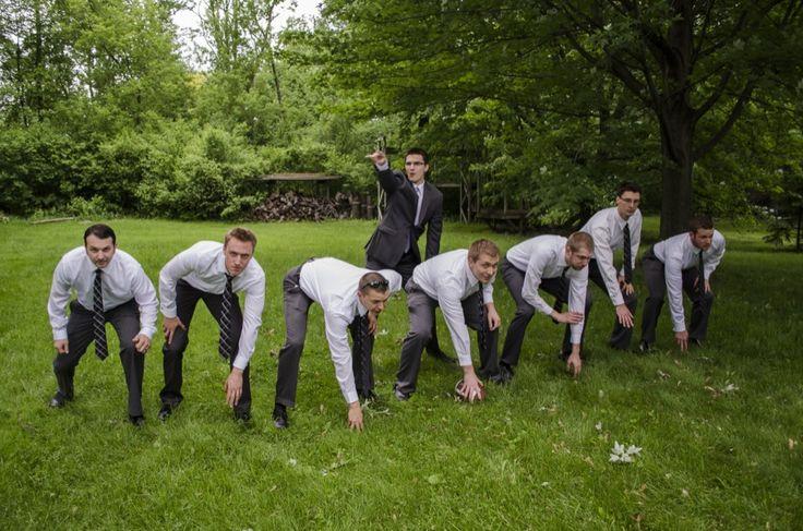 Groomsmen photo / getting ready / football / quarterback