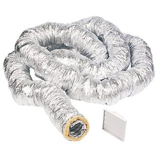 Manrose Aluminium Insulated Ducting Hose Silver HIPS polystyrene. Suitable for commercial and domestic use. Fire retardant. Compliant with Part F of the Building Regulations. http://www.MightGet.com/april-2017-1/manrose-aluminium-insulated-ducting-hose-silver.asp