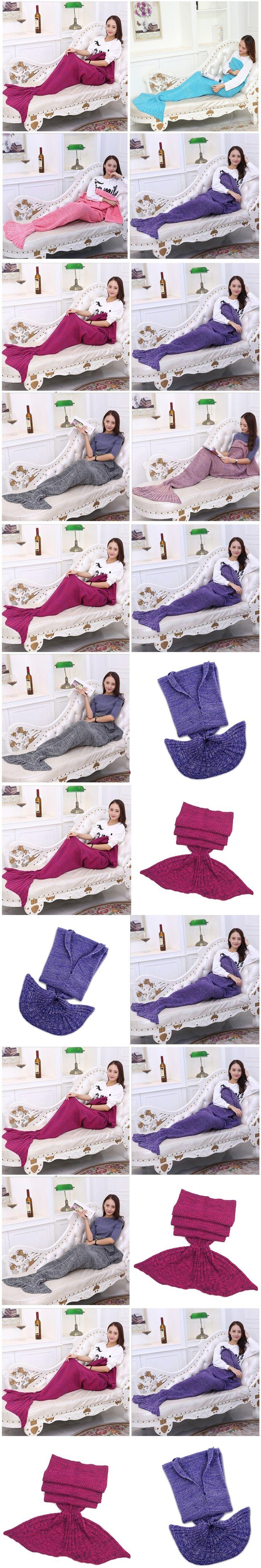 180*90CM Cute Yarn Knitted Mermaid Tail Blanket Super Soft Sleeping Bed Handmade Crochet Anti-Pilling Portable Blanket 10 Colors