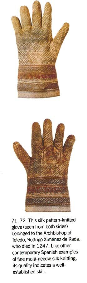 Silk pattern knitted gloves from teh Archbishop of Toledo, 1247.