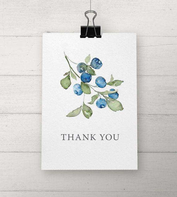 Cartes de remerciement aux bleuets aquarelle par NooneyArt sur Etsy