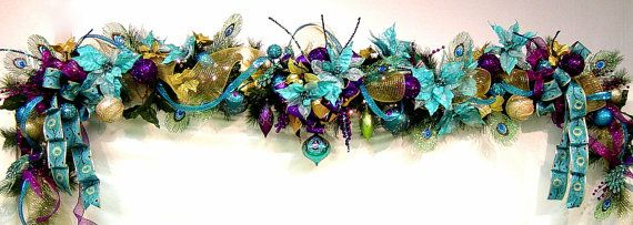 Peacock Mantel Garland Christmas/Holiday Teal Turquoise Purple OVER-the-TOP design by Cabin Cove Creations $495.00 ...If sold stop by the cabin and check out all my other unique designs :) ... Click here ...  http://www.etsy.com/shop/cabincovecreations?ref=si_shop