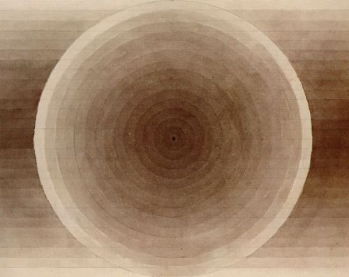 Eva Hesse, Untitled (Brown ink with wash on paper, detail), 1966.