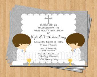 invitaciones de primera comunion de gemelos