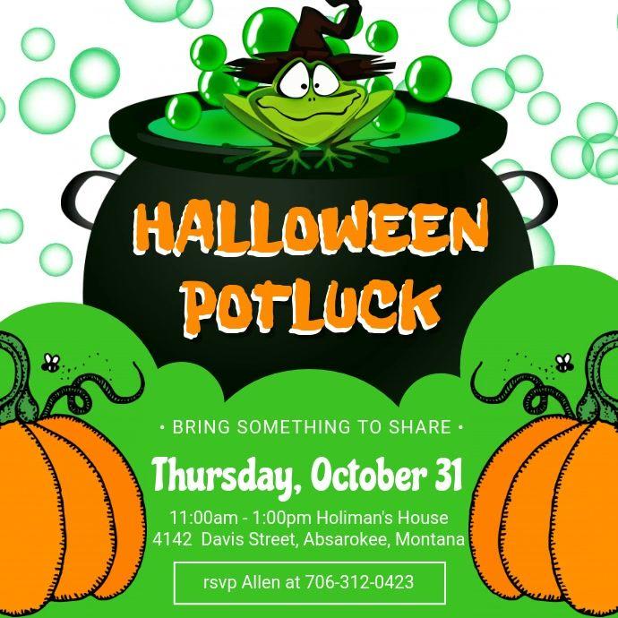 Halloween Potluck Flyer Ideas 2020 Green Halloween Potluck Invitation Video in 2020 | Halloween party